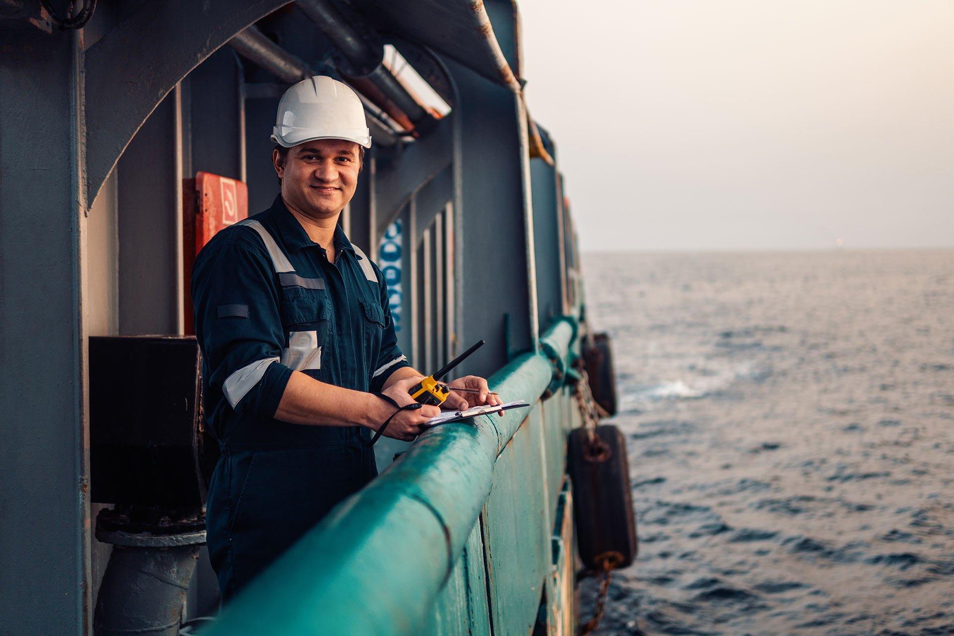 A man on vessels deck